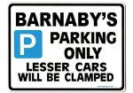 BARNABY'S Personalised Gift |Unique Present for Him | Parking Sign - Size Large - Metal faced